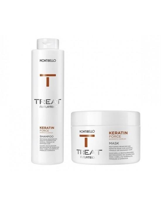 Montibello Keratin Force zestaw: szampon 300 ml, maska 200 ml