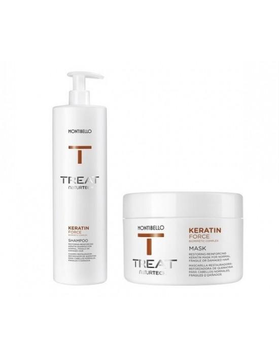Montibello Keratin Force duży zestaw: szampon 1000 ml, maska 500 ml