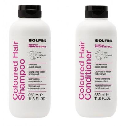 Szampon Solfine do włosów farbowanych 350 ml, Odżywka Solfine do włosów farbowanych 350 ml