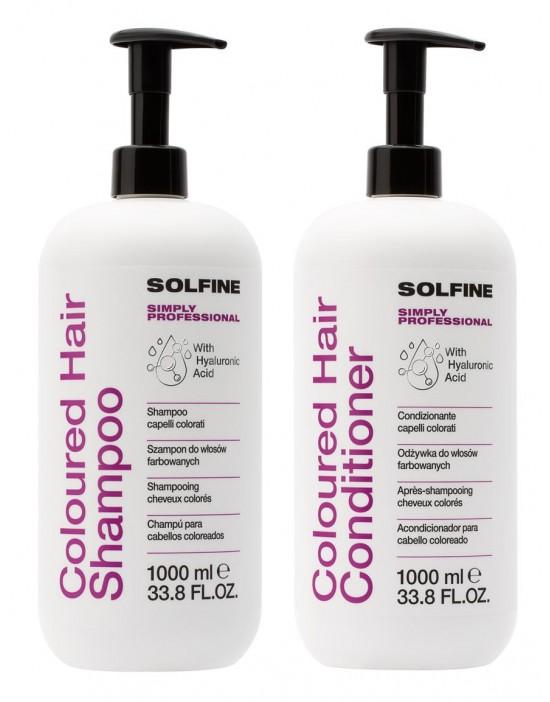 Solfine zestaw do włosów farbowanych: Szampon 1000 ml, Odżywka 1000 ml