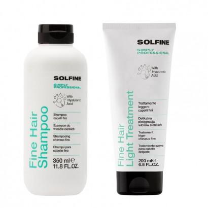 Solfine zestaw Fine: szampon 350 ml, Kuracja do włosów cienkich 200 ml