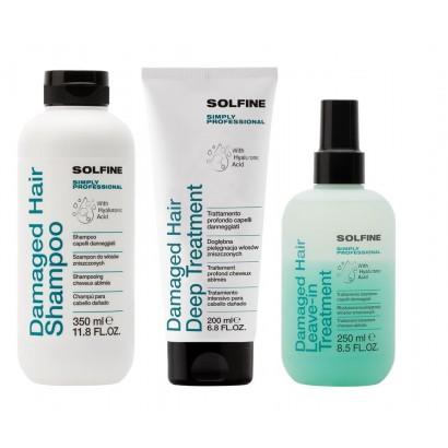Solfine zestaw do włosów zniszczonych: Szampon 350 ml, kuracja 200 ml, odżywka bez spłukiwania 250 ml