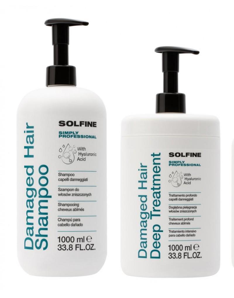 Solfine zestaw do włosów zniszczonych: Szampon 1000 ml, kuracja 1000 ml