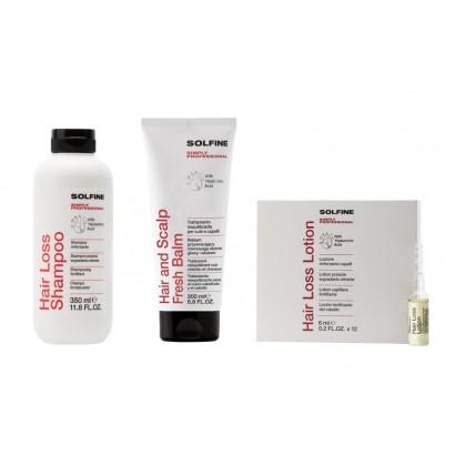 Solfine zestaw przeciw wypadaniu: Szampon 350 ml, ampułki 12x6 ml, balsam 200 ml