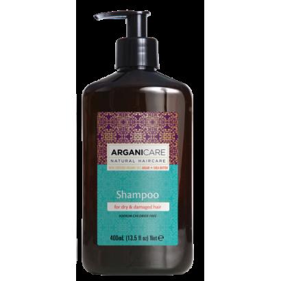 Arganicare ARGAN + SHEA BUTTER, szampon regenerujący do włosów z masłem Shea 400 ml