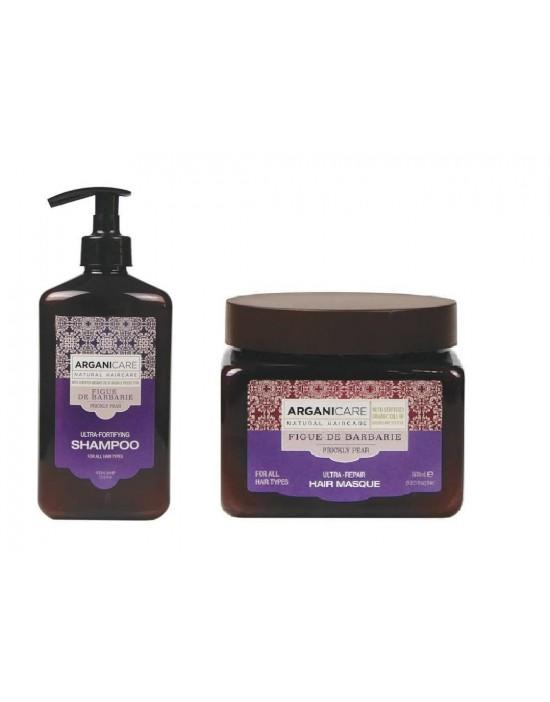 Arganicare zestaw wzmacniający z opuncją figową: Szampon 400 ml + Maska 500 ml