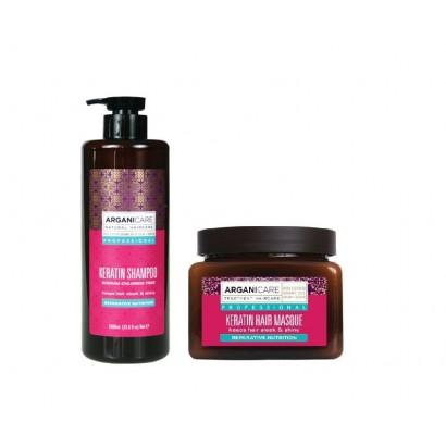 Arganicare zestaw odżywczy do włosów suchych Keratin: szampon 1000 ml + Maska 500 ml