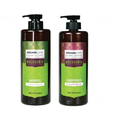 Arganicare Macadamia zestaw regnerujący włosy: Szampon 1000 ml + odżywka 1000 ml