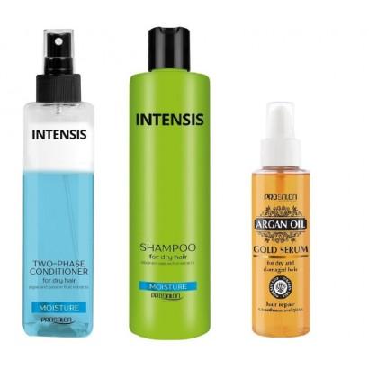Chantal Prosalon, zestaw nawilżający do włosów: szampon + serum Arganowe + odżywka 2-fazowa