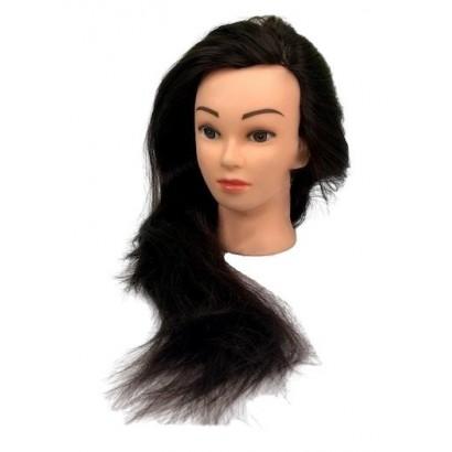 Główka fryzjerska treningowa 55 cm, 70% naturalnych włosów + statyw