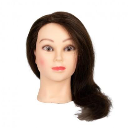 Główka, głowa fryzjerska treningowa 45cm, włosy 100% naturalne + statyw