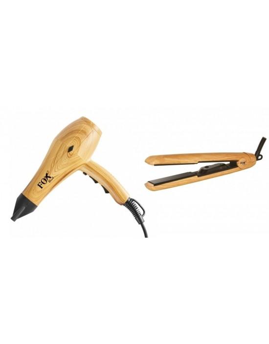 Zestaw narzędzi fryzjerskich: Suszarka Fox Wood + Prostownica Fox Wood