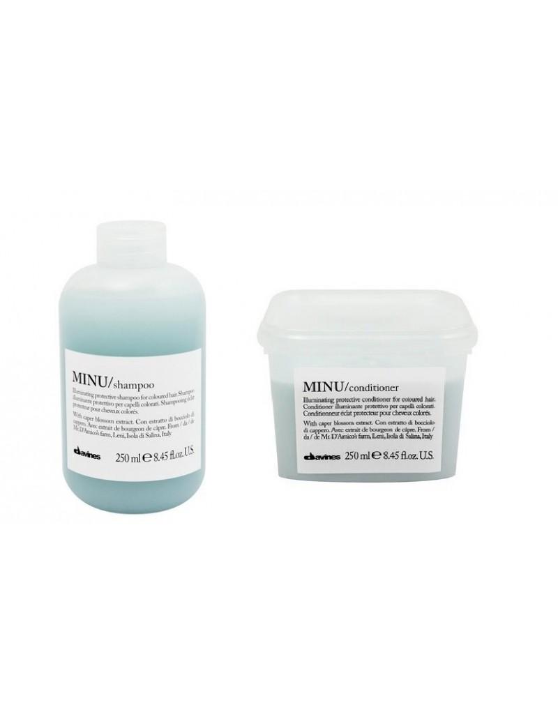 Davines Minu zestaw do włosów farbowanych: Szampon 250 ml, odżywka 250 ml