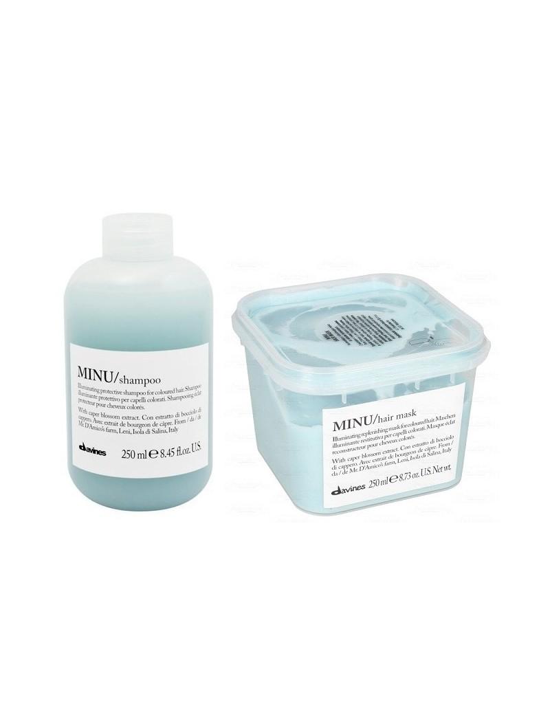 Davines Minu zestaw do włosów farbowanych: Szampon 250 ml + Maska rozświetlająca 250 ml