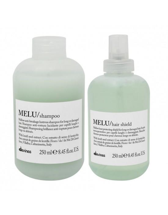 Davines MELU, zestaw do włosów zniszczonych: Szampon 250 ml + Spray chroniący przed wysoką temperaturą 250 ml