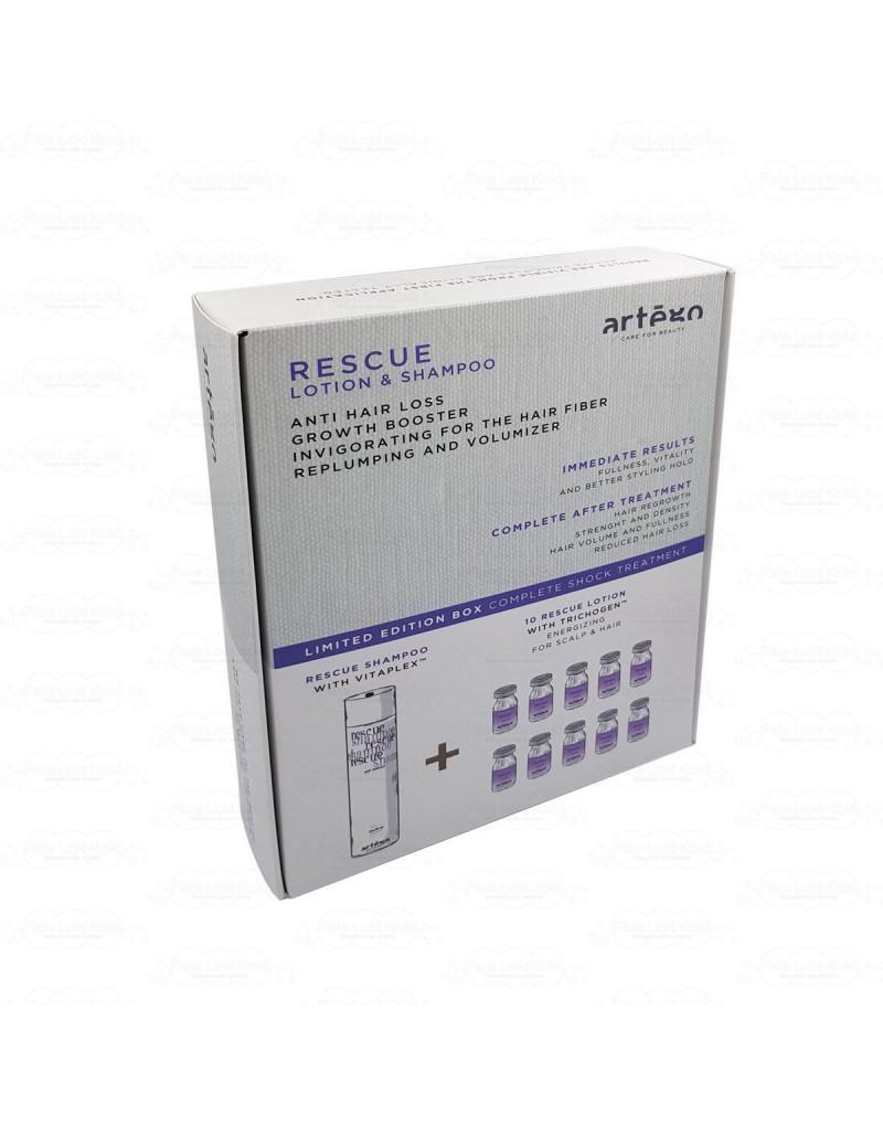 Artego Rescue, kuracja przeciw wypadaniu włosów szampon 250 ml + ampułki 10x8 ml