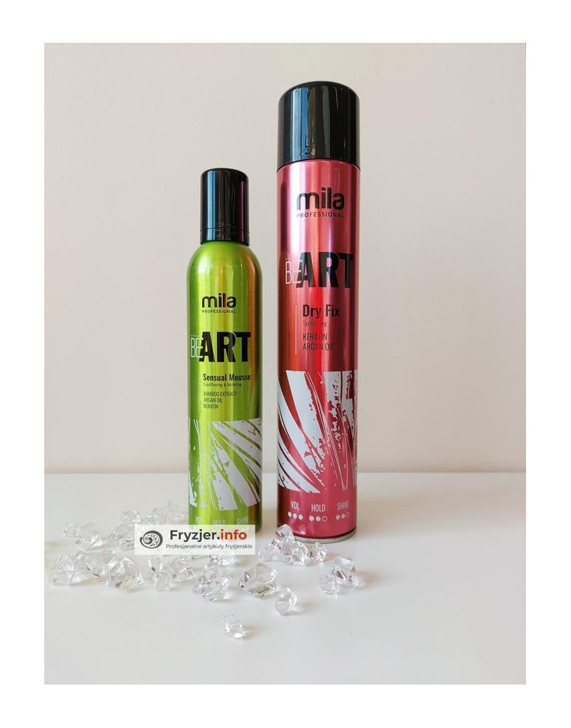 Lakier Be Art Dry Fix Mila 500 ml + Pianka Be Art Sensual Mila 300 ml